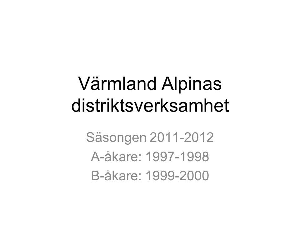 Värmland Alpinas distriktsverksamhet Säsongen 2011-2012 A-åkare: 1997-1998 B-åkare: 1999-2000