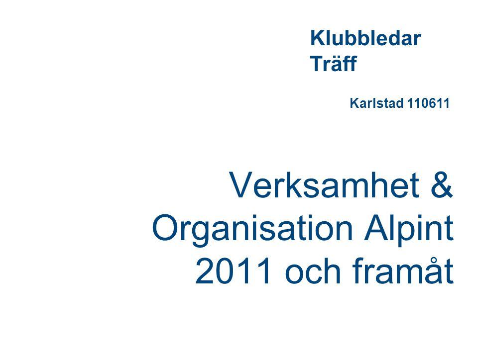 Verksamhet & Organisation Alpint 2011 och framåt Klubbledar Träff Karlstad 110611