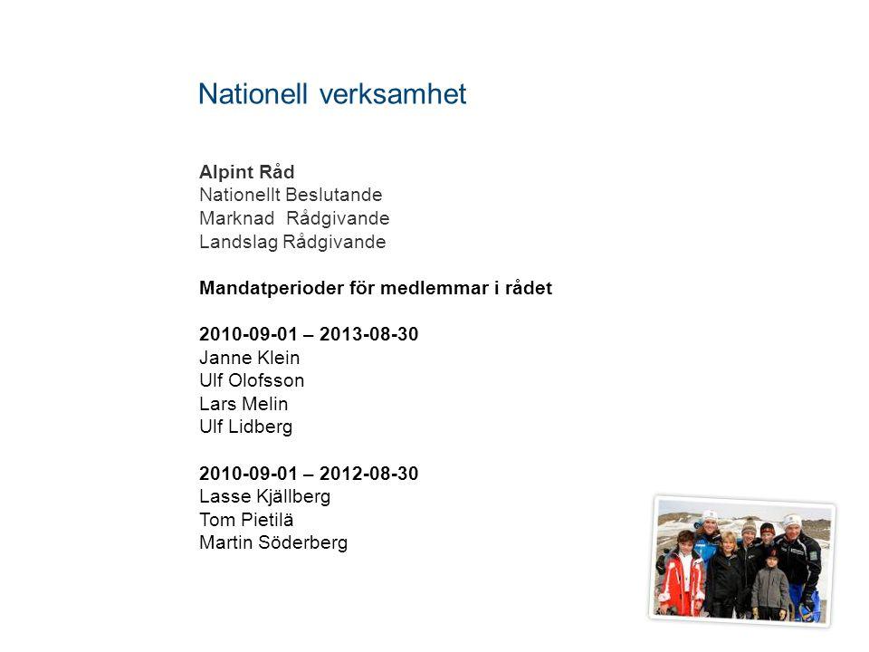 Alpint Råd Nationellt Beslutande MarknadRådgivande Landslag Rådgivande Mandatperioder för medlemmar i rådet 2010-09-01 – 2013-08-30 Janne Klein Ulf Ol