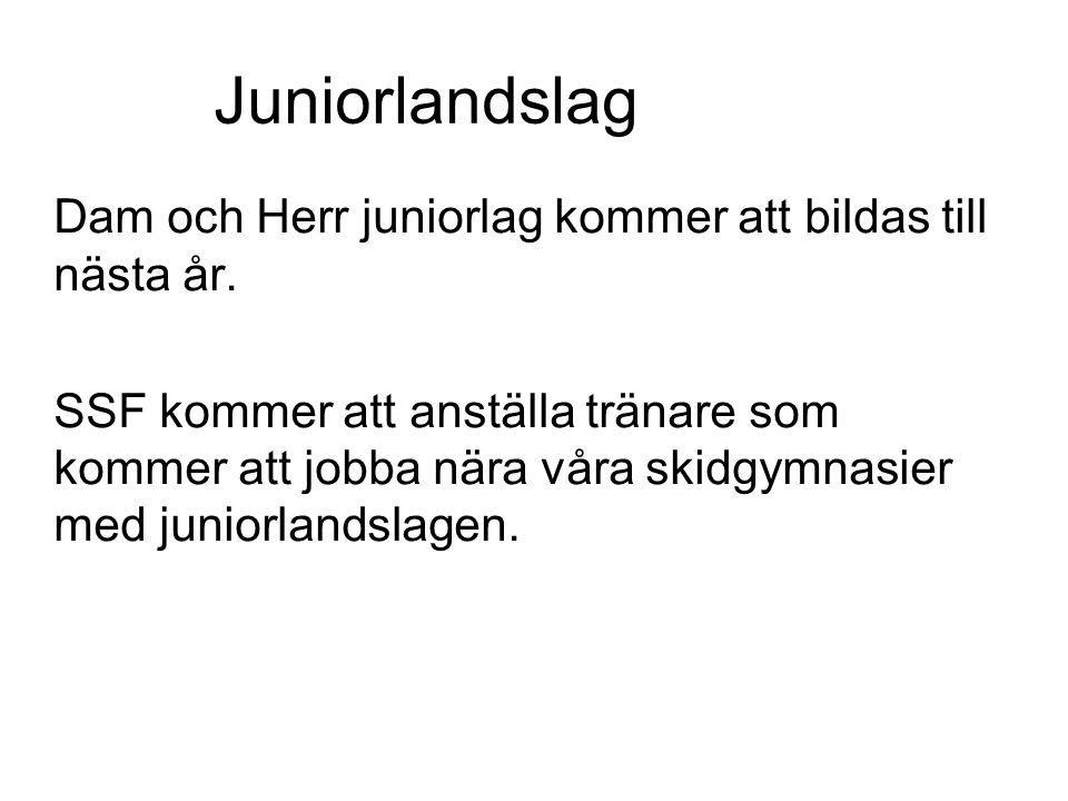 Juniorlandslag Dam och Herr juniorlag kommer att bildas till nästa år. SSF kommer att anställa tränare som kommer att jobba nära våra skidgymnasier me