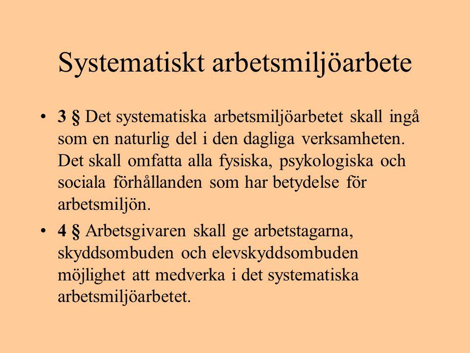 Systematiskt arbetsmiljöarbete •3 § Det systematiska arbetsmiljöarbetet skall ingå som en naturlig del i den dagliga verksamheten. Det skall omfatta a