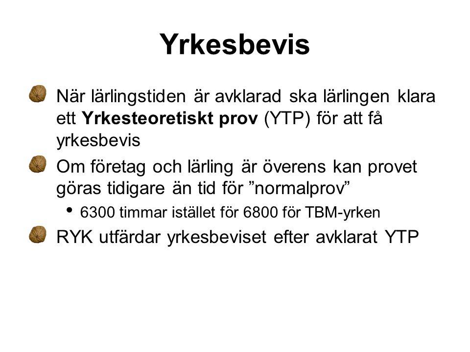 Yrkesteoretiskt Prov - YTP Lärlingen har rätt att göra tre prov som bekostas av arbetsgivaren Ska kunna genomföras på företaget • Kan göras on-line YTP infördes i praktiken från 2007-11-01 och gäller alla lärlingar anställda efter 2006-06-01