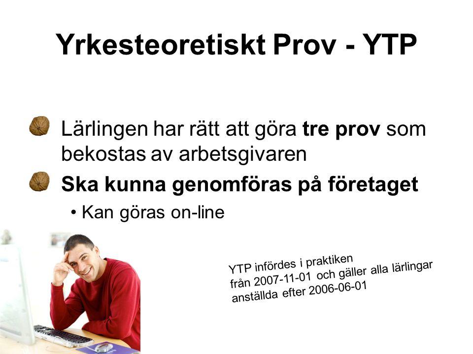 Yrkesteoretiskt Prov - YTP Lärlingen har rätt att göra tre prov som bekostas av arbetsgivaren Ska kunna genomföras på företaget • Kan göras on-line YT