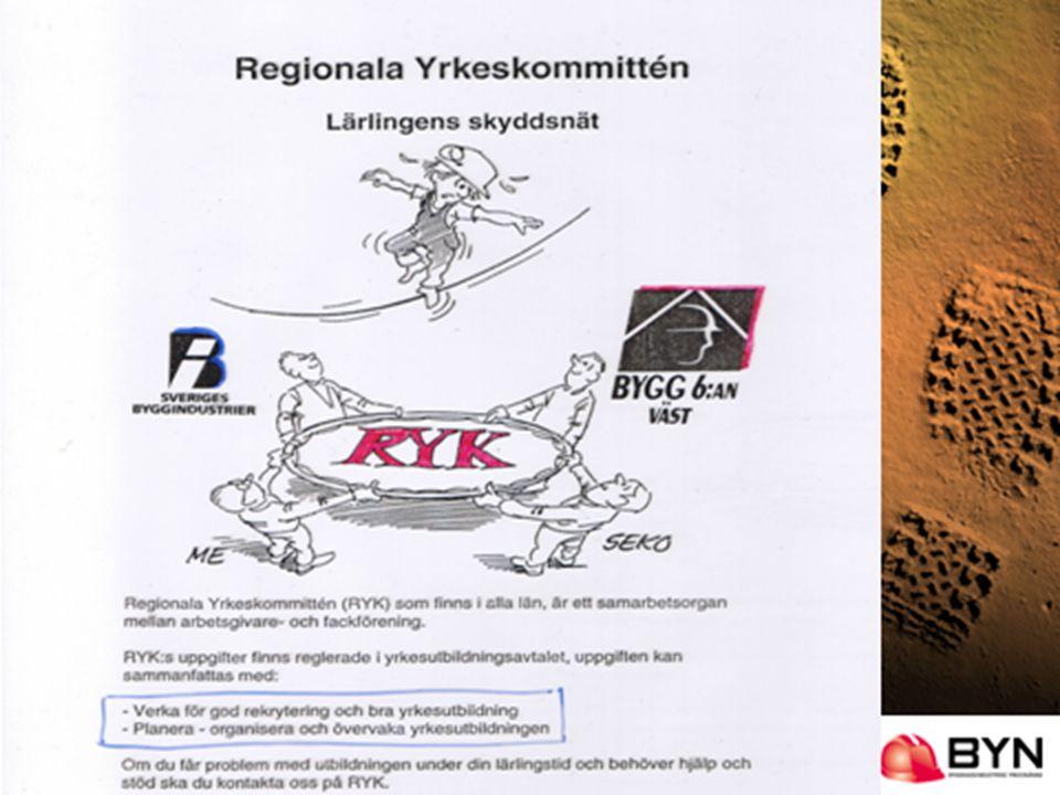 RYK och BYN Regionala Yrkeskommittén (RYK) • Partssammansatta regionala samverkansorgan.