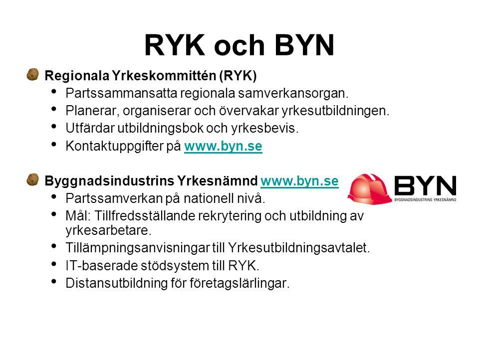 RYK och BYN Regionala Yrkeskommittén (RYK) • Partssammansatta regionala samverkansorgan. • Planerar, organiserar och övervakar yrkesutbildningen. • Ut