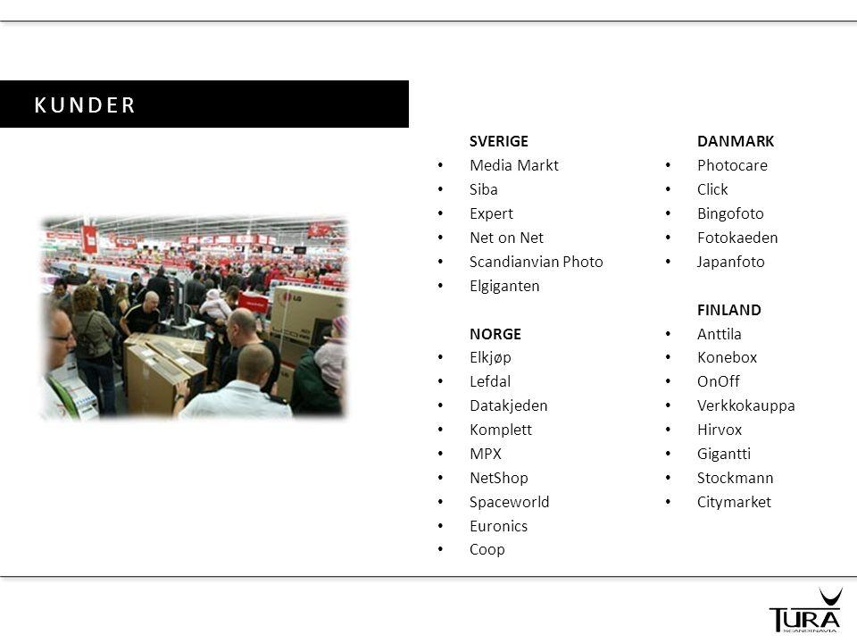 KUNDER SVERIGE • Media Markt • Siba • Expert • Net on Net • Scandianvian Photo • Elgiganten NORGE • Elkjøp • Lefdal • Datakjeden • Komplett • MPX • Ne