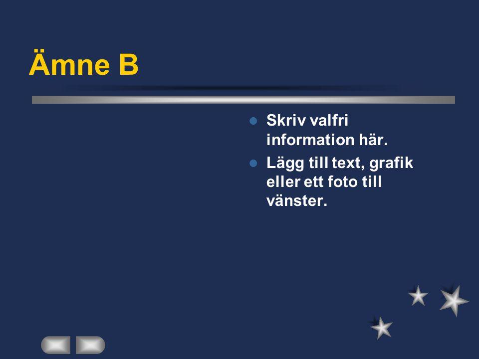 Ämne B  Skriv valfri information här.  Lägg till text, grafik eller ett foto till vänster.