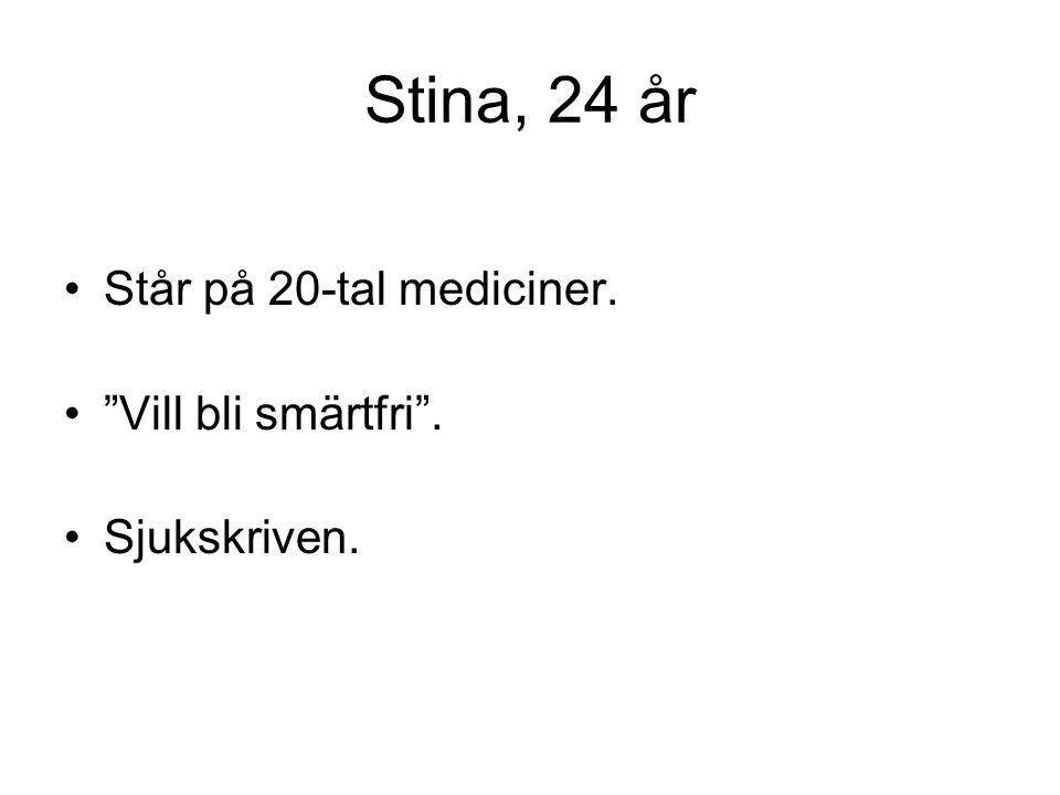"""Stina, 24 år •Står på 20-tal mediciner. •""""Vill bli smärtfri"""". •Sjukskriven."""