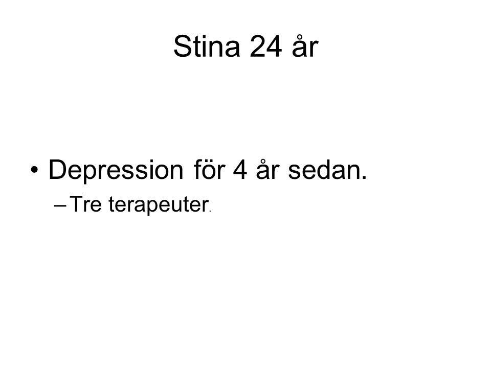 Stina 24 år •Depression för 4 år sedan. –Tre terapeuter.