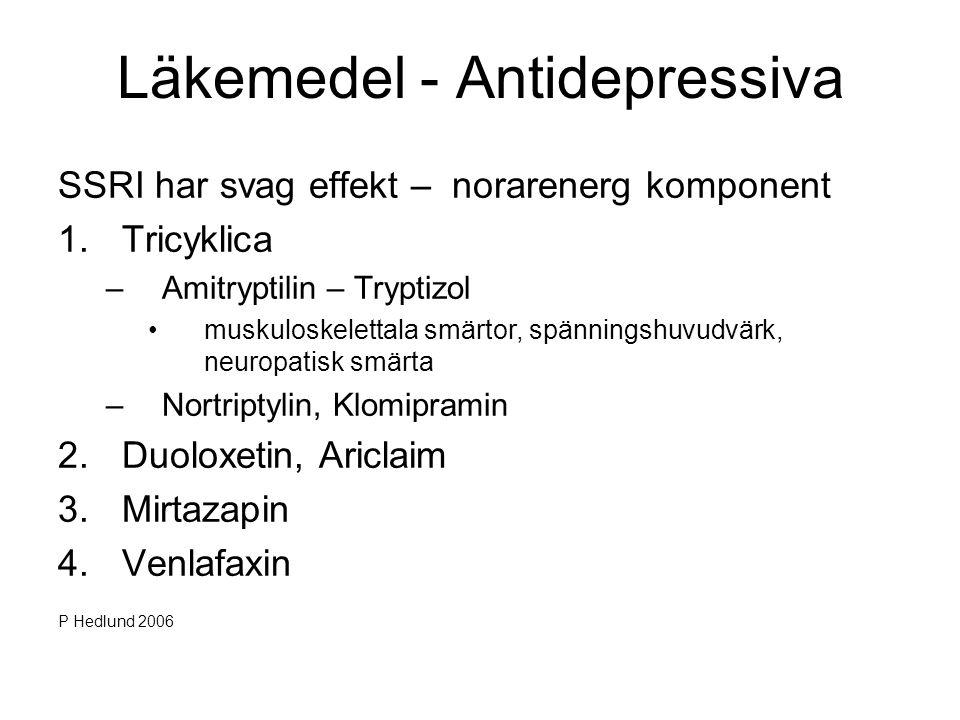 Läkemedel - Antidepressiva SSRI har svag effekt – norarenerg komponent 1.Tricyklica –Amitryptilin – Tryptizol •muskuloskelettala smärtor, spänningshuv