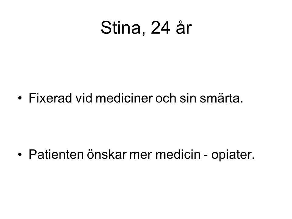 Stina, 24 år •Fixerad vid mediciner och sin smärta. •Patienten önskar mer medicin - opiater.