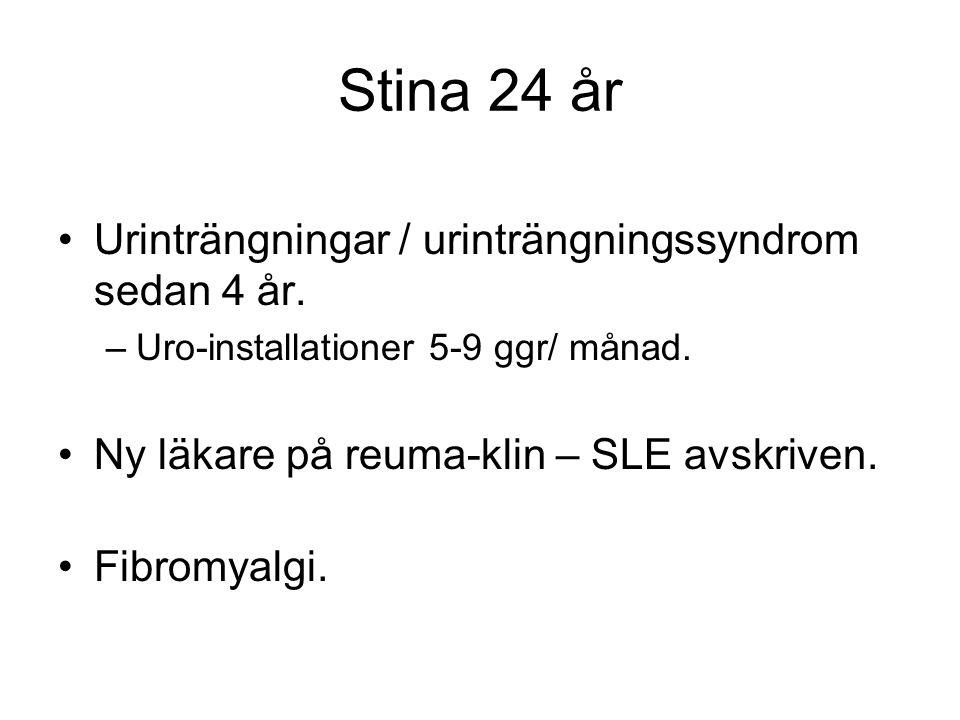 Stina 24 år •Urinträngningar / urinträngningssyndrom sedan 4 år. –Uro-installationer 5-9 ggr/ månad. •Ny läkare på reuma-klin – SLE avskriven. •Fibrom