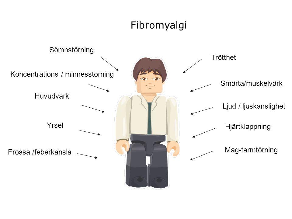 Koncentrations / minnesstörning Huvudvärk Sömnstörning Yrsel Mag-tarmtörning Hjärtklappning Ljud / ljuskänslighet Smärta/muskelvärk Trötthet Fibromyal