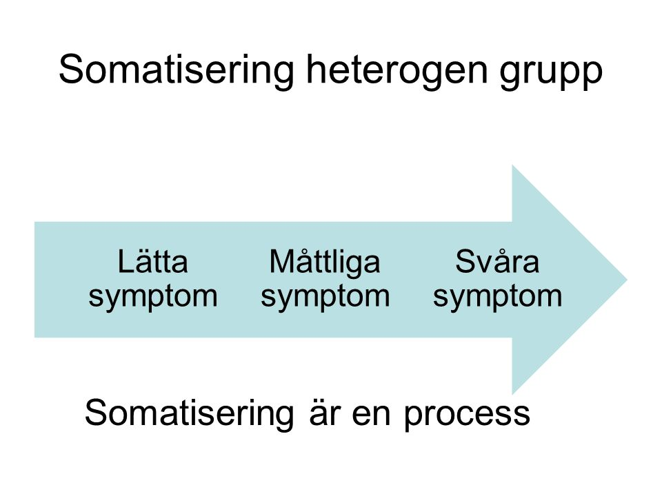Somatisering heterogen grupp Somatisering är en process