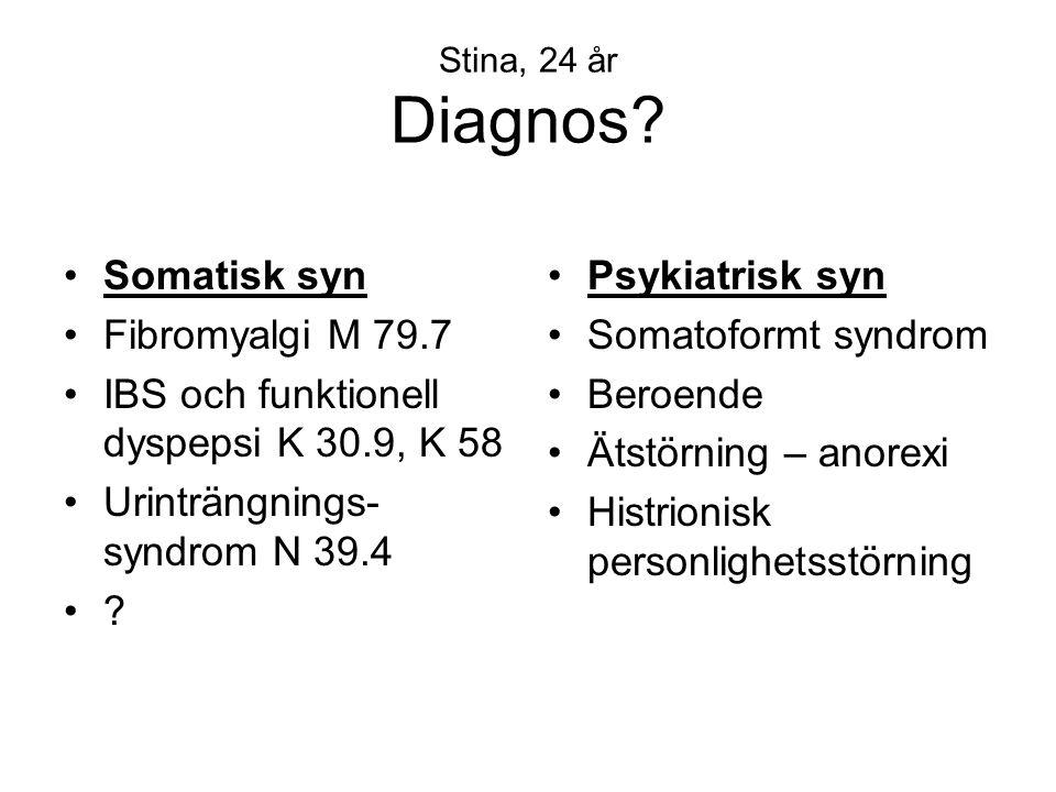 Stina, 24 år Diagnos? •Somatisk syn •Fibromyalgi M 79.7 •IBS och funktionell dyspepsi K 30.9, K 58 •Urinträngnings- syndrom N 39.4 •?•? •Psykiatrisk s