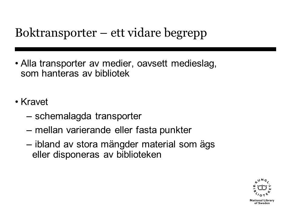 Boktransporter – ett vidare begrepp •Alla transporter av medier, oavsett medieslag, som hanteras av bibliotek •Kravet – schemalagda transporter – mellan varierande eller fasta punkter – ibland av stora mängder material som ägs eller disponeras av biblioteken
