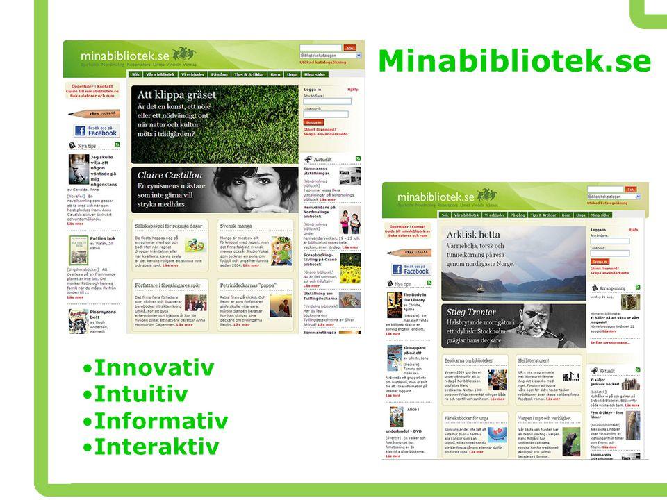 Minabibliotek.se •Innovativ •Intuitiv •Informativ •Interaktiv