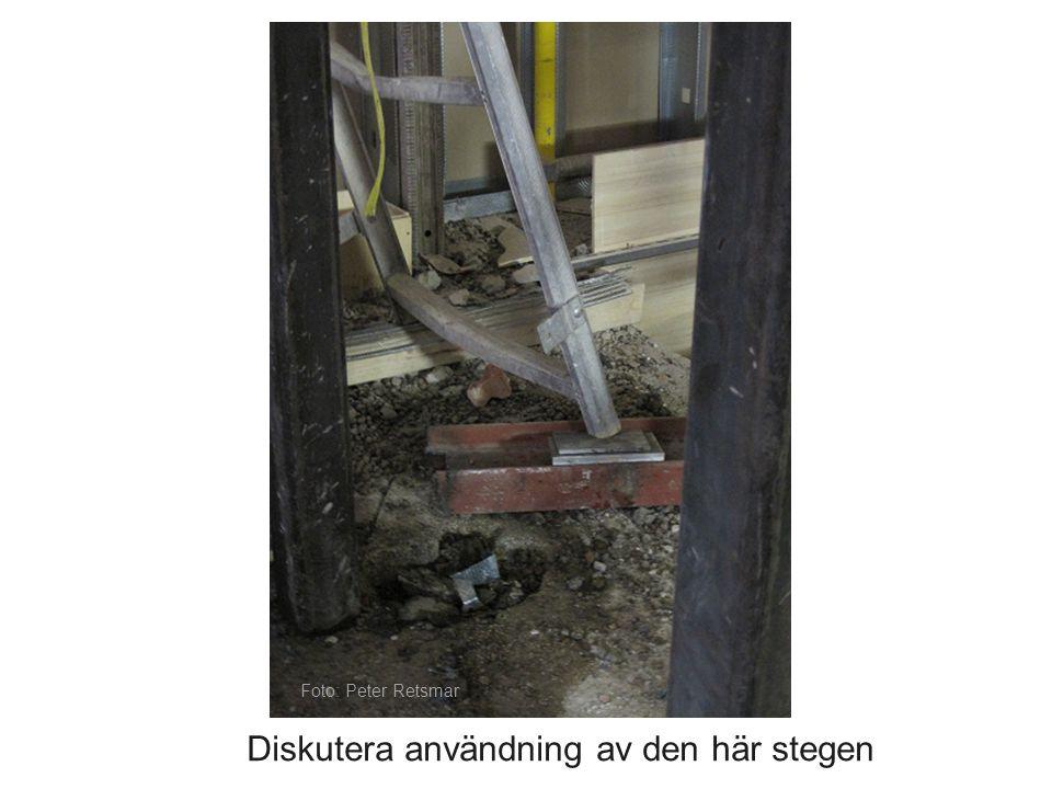 Bilden visar fågelträck på en vind.Föreslå arbetsmetod och skyddsutrustning för att ta bort detta.