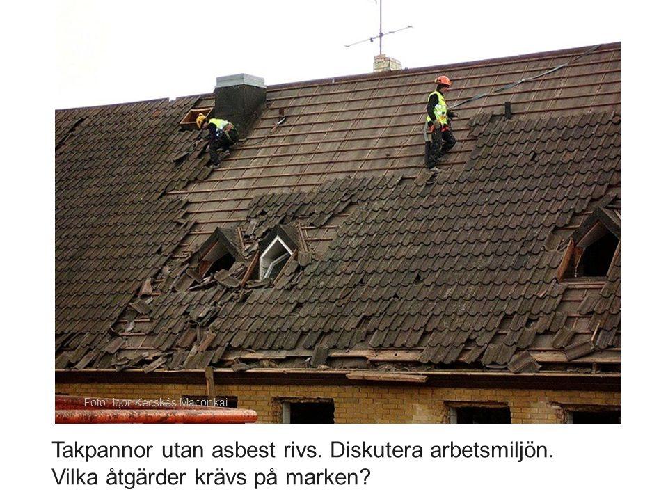 Takpannor utan asbest rivs. Diskutera arbetsmiljön. Vilka åtgärder krävs på marken? Foto: Igor Kecskés Maconkai