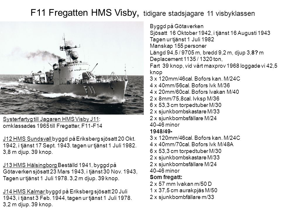 F11 Fregatten HMS Visby, tidigare stadsjagare 11 visbyklassen Systerfartyg till Jagaren HMS Visby J11: omklassades 1965 till Fregatter, F11-F14 J12 HM