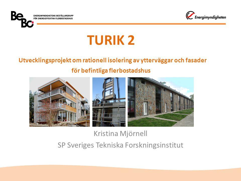 TURIK 2 Utvecklingsprojekt om rationell isolering av ytterväggar och fasader för befintliga flerbostadshus Kristina Mjörnell SP Sveriges Tekniska Fors