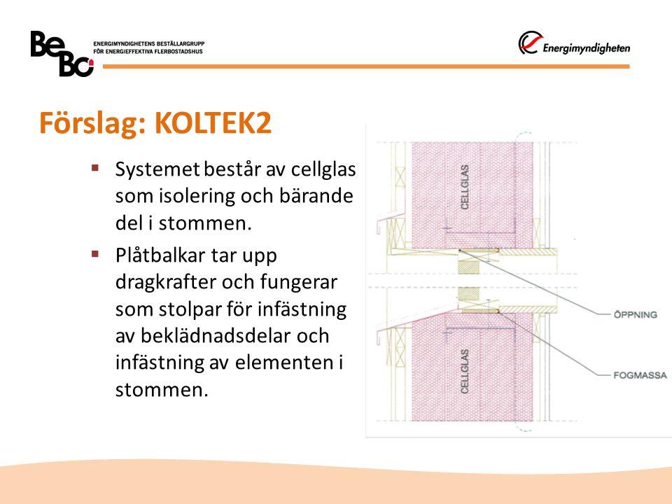 Förslag: KOLTEK2  Systemet består av cellglas som isolering och bärande del i stommen.  Plåtbalkar tar upp dragkrafter och fungerar som stolpar för