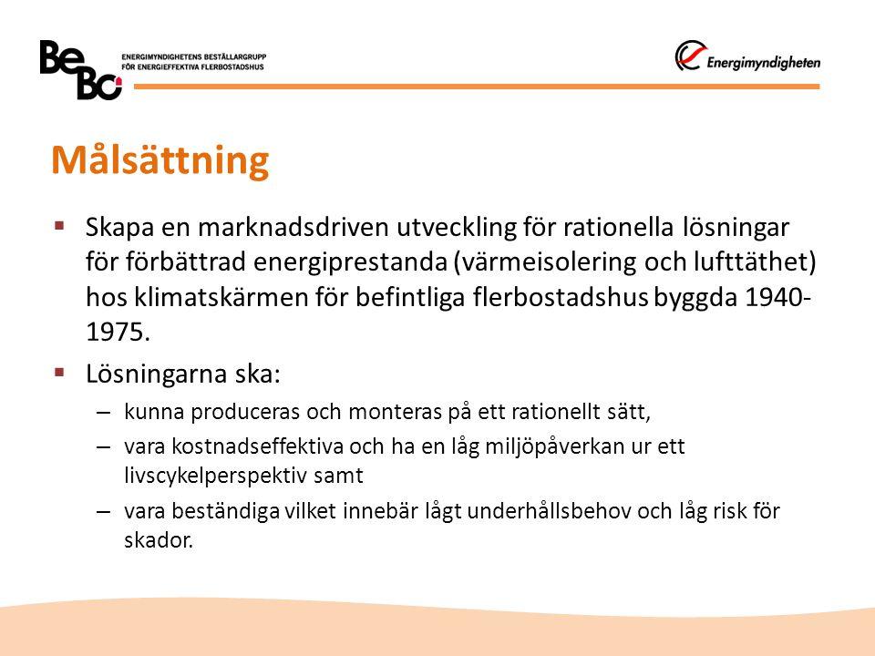 Målsättning  Skapa en marknadsdriven utveckling för rationella lösningar för förbättrad energiprestanda (värmeisolering och lufttäthet) hos klimatskä