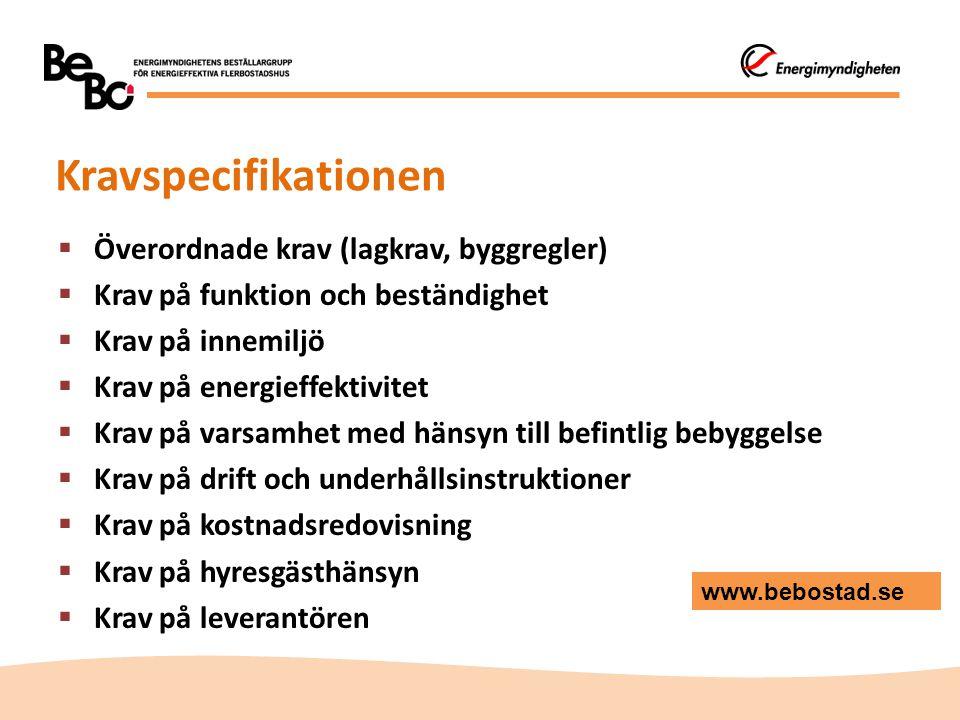 Kravspecifikationen  Överordnade krav (lagkrav, byggregler)  Krav på funktion och beständighet  Krav på innemiljö  Krav på energieffektivitet  Kr