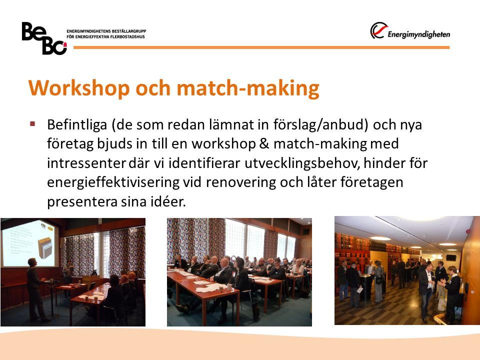 Workshop och match-making  Befintliga (de som redan lämnat in förslag/anbud) och nya företag bjuds in till en workshop & match-making med intressente