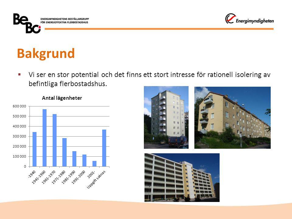 Bakgrund  Vi ser en stor potential och det finns ett stort intresse för rationell isolering av befintliga flerbostadshus.
