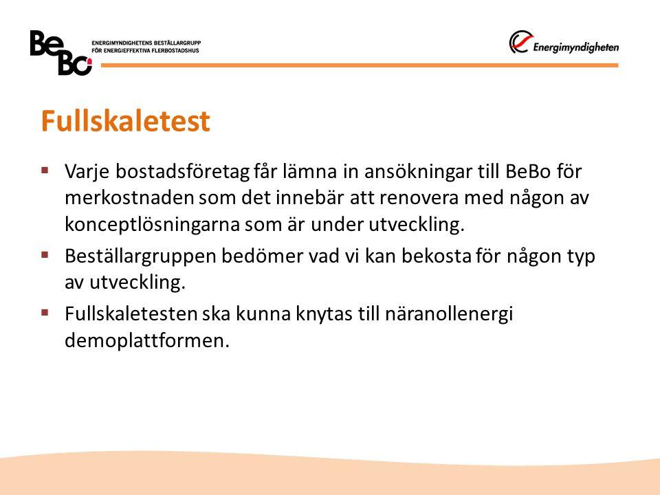 Fullskaletest  Varje bostadsföretag får lämna in ansökningar till BeBo för merkostnaden som det innebär att renovera med någon av konceptlösningarna