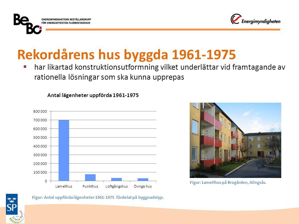 Rekordårens hus byggda 1961-1975  har likartad konstruktionsutformning vilket underlättar vid framtagande av rationella lösningar som ska kunna uppre