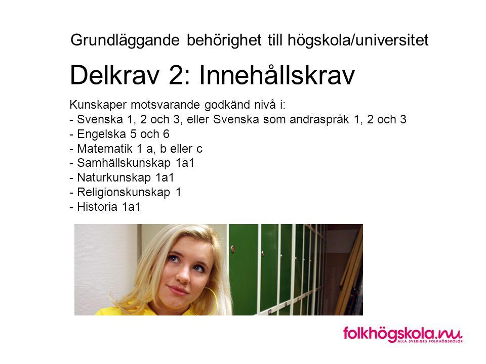 Kunskaper motsvarande godkänd nivå i: - Svenska 1, 2 och 3, eller Svenska som andraspråk 1, 2 och 3 - Engelska 5 och 6 - Matematik 1 a, b eller c - Sa