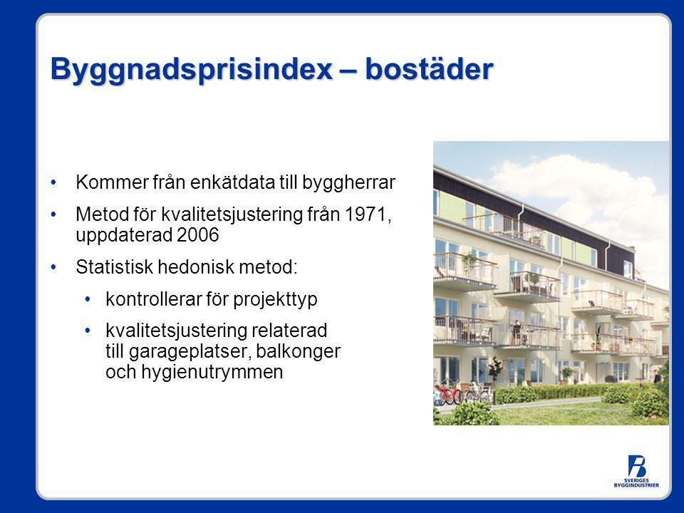Byggnadsprisindex – bostäder •Kommer från enkätdata till byggherrar •Metod för kvalitetsjustering från 1971, uppdaterad 2006 •Statistisk hedonisk meto