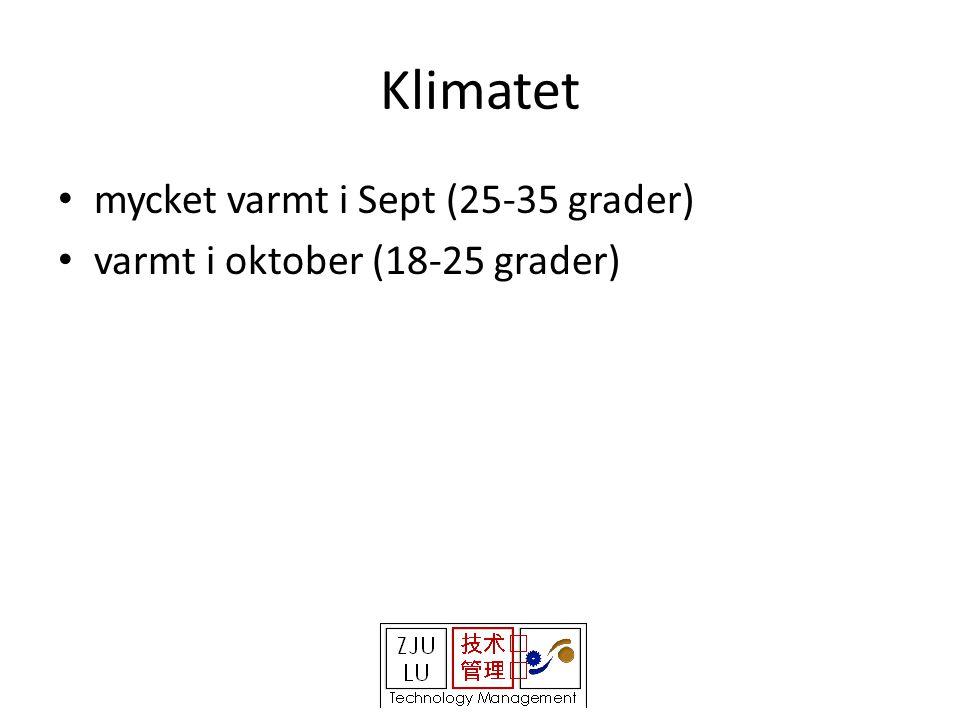 Klimatet • mycket varmt i Sept (25-35 grader) • varmt i oktober (18-25 grader)