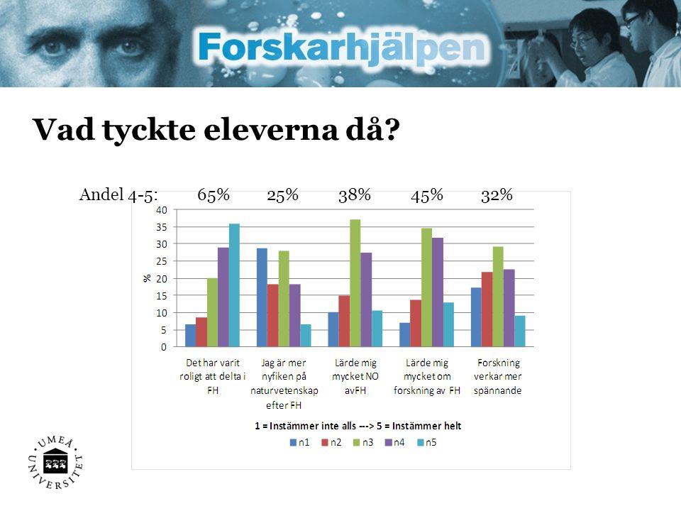 Vad tyckte eleverna då? 65%Andel 4-5:25%38%45%32%