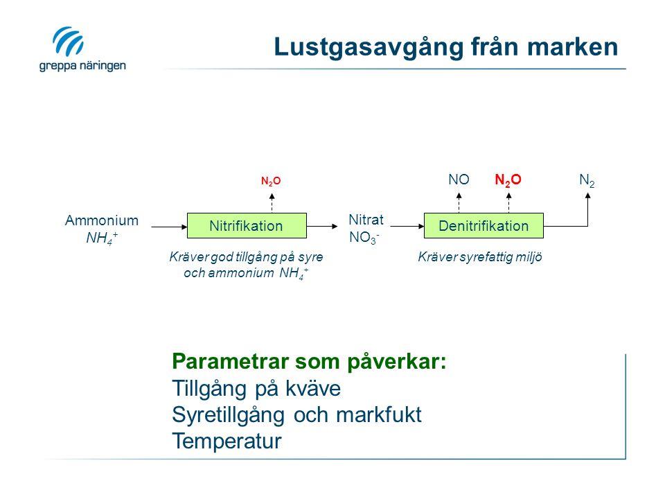 Lustgasavgång från marken Ammonium NH 4 + Nitrat NO 3 - N2N2 N2ON2O NON2ON2O Nitrifikation Denitrifikation Kräver god tillgång på syre och ammonium NH