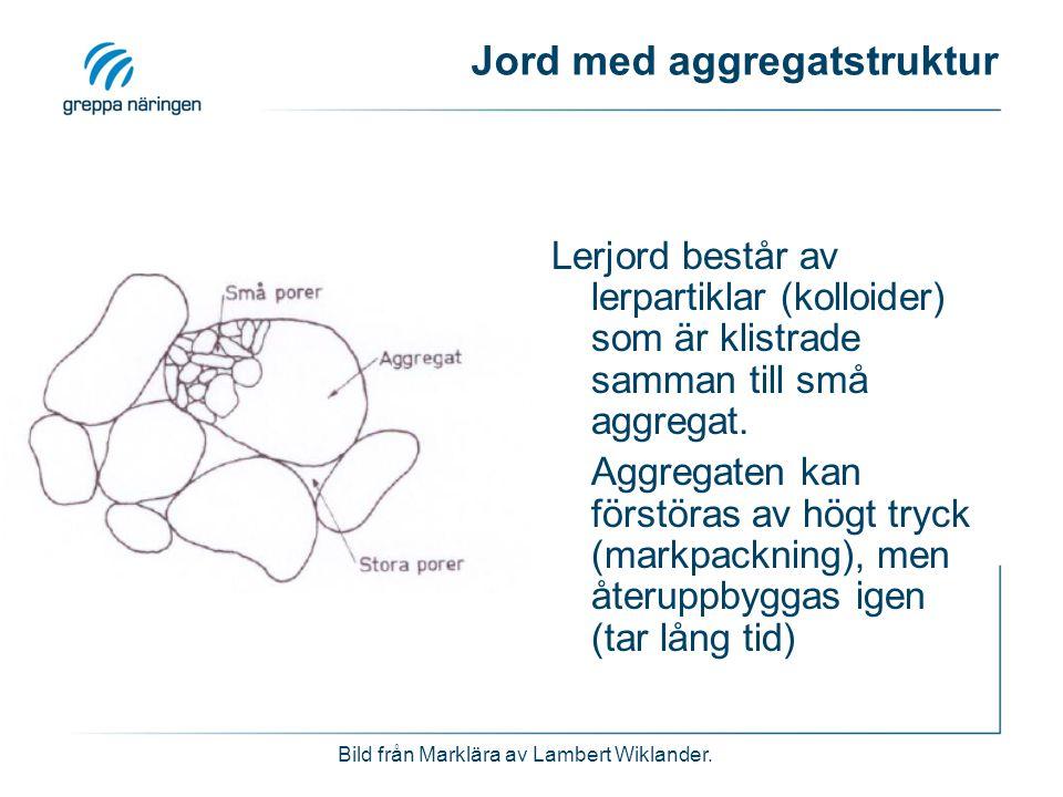 Jord med aggregatstruktur Lerjord består av lerpartiklar (kolloider) som är klistrade samman till små aggregat. Aggregaten kan förstöras av högt tryck