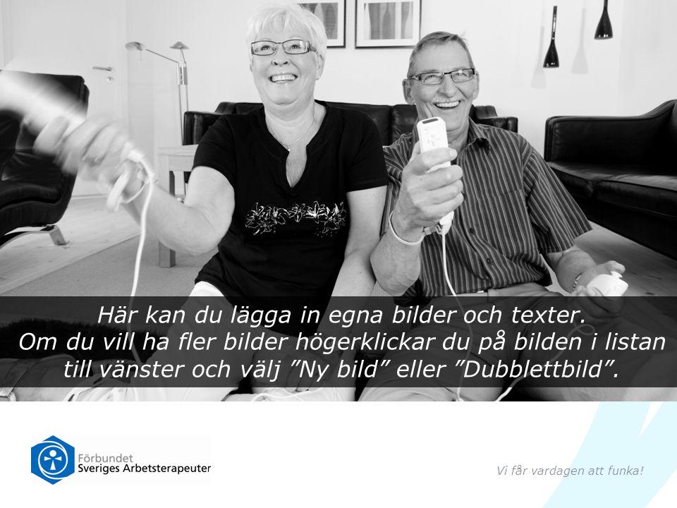 En tredjedel av de nästan 10 000 yrkesverksamma arbetsterapeuterna i Sverige arbetar med äldre personer … Vi får vardagen att funka!