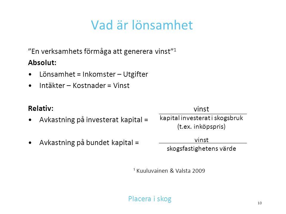 """Vad är lönsamhet """"En verksamhets förmåga att generera vinst"""" 1 Absolut: •Lönsamhet = Inkomster – Utgifter •Intäkter – Kostnader = Vinst Relativ: •Avka"""