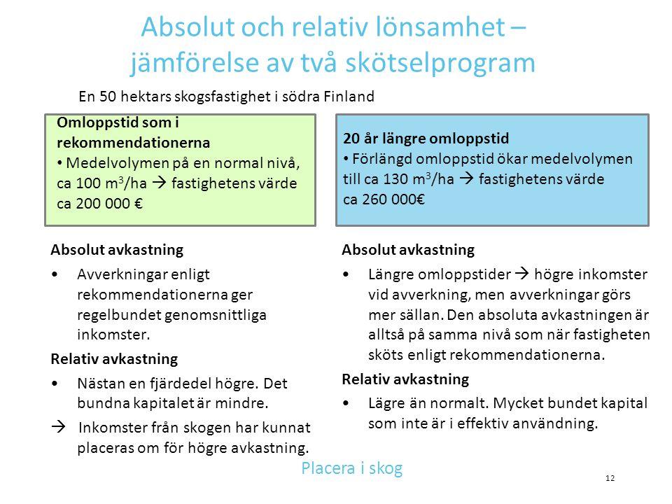 Absolut och relativ lönsamhet – jämförelse av två skötselprogram Absolut avkastning •Avverkningar enligt rekommendationerna ger regelbundet genomsnitt