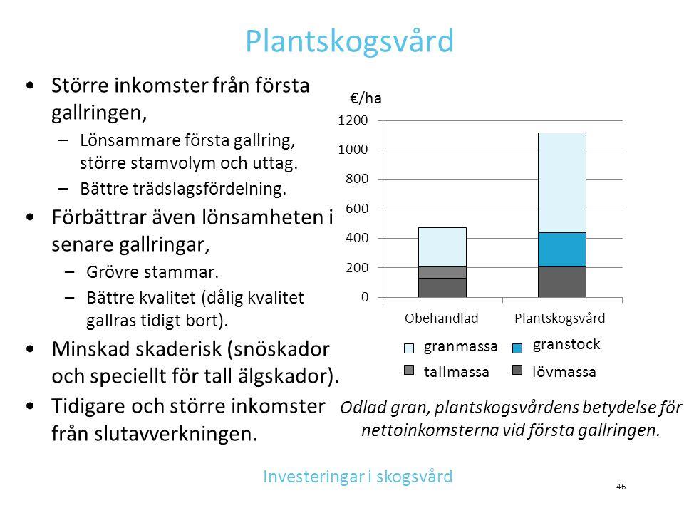 Plantskogsvård •Större inkomster från första gallringen, –Lönsammare första gallring, större stamvolym och uttag. –Bättre trädslagsfördelning. •Förbät