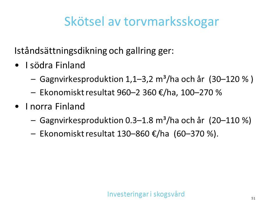 Skötsel av torvmarksskogar Iståndsättningsdikning och gallring ger: •I södra Finland –Gagnvirkesproduktion 1,1–3,2 m³/ha och år (30–120 % ) –Ekonomisk
