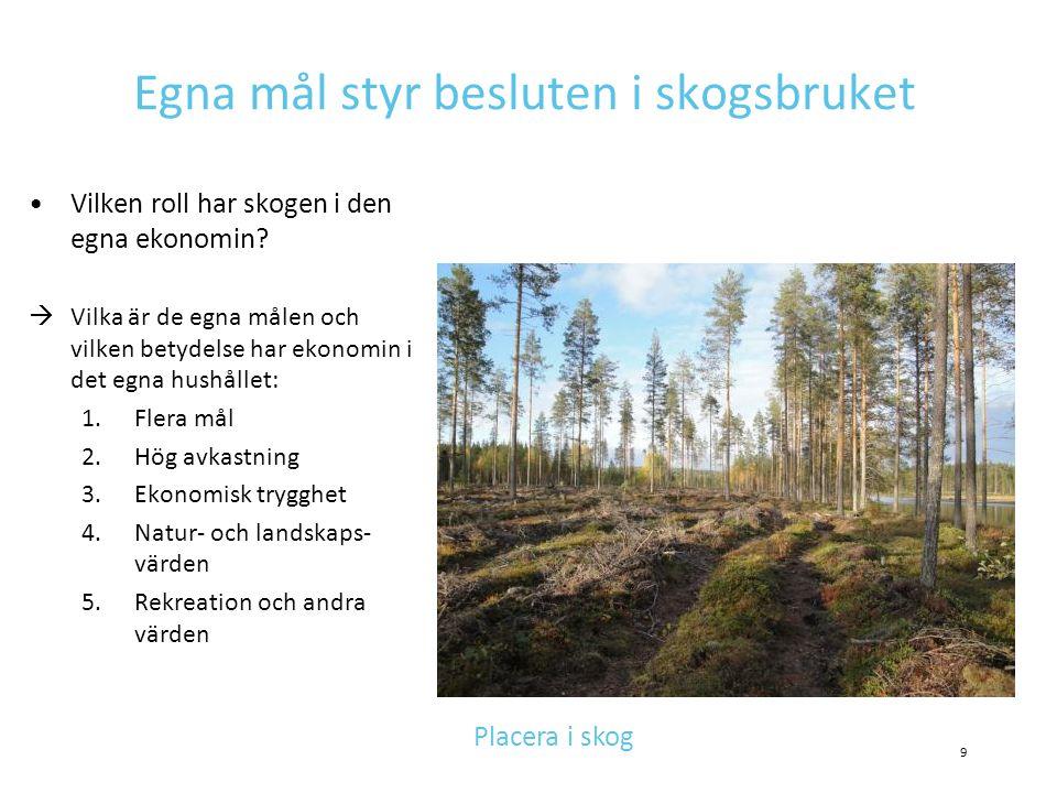 Egna mål styr besluten i skogsbruket •Vilken roll har skogen i den egna ekonomin?  Vilka är de egna målen och vilken betydelse har ekonomin i det egn