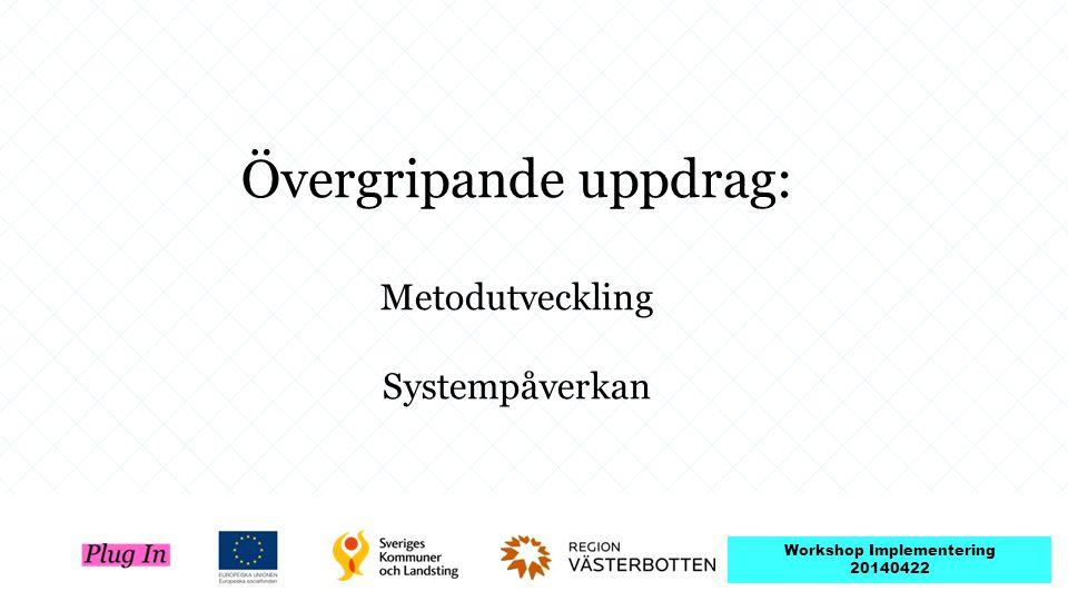 Övergripande uppdrag: Metodutveckling Systempåverkan Workshop Implementering 20140422