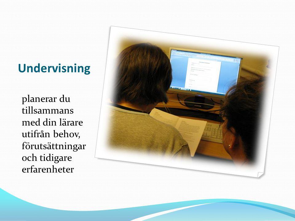 Undervisning planerar du tillsammans med din lärare utifrån behov, förutsättningar och tidigare erfarenheter