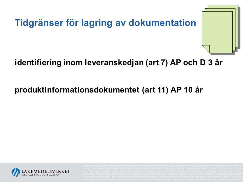 Tidgränser för lagring av dokumentation identifiering inom leveranskedjan (art 7) AP och D 3 år produktinformationsdokumentet (art 11) AP 10 år