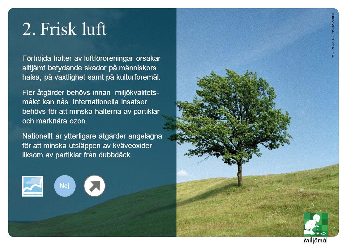 2.Frisk luft Förhöjda halter av luftföroreningar orsakar alltjämt betydande skador på människors hälsa, på växtlighet samt på kulturföremål. Fler åtgä
