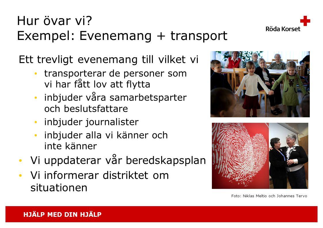 HJÄLP MED DIN HJÄLP Hur övar vi? Exempel: Evenemang + transport Ett trevligt evenemang till vilket vi • transporterar de personer som vi har fått lov