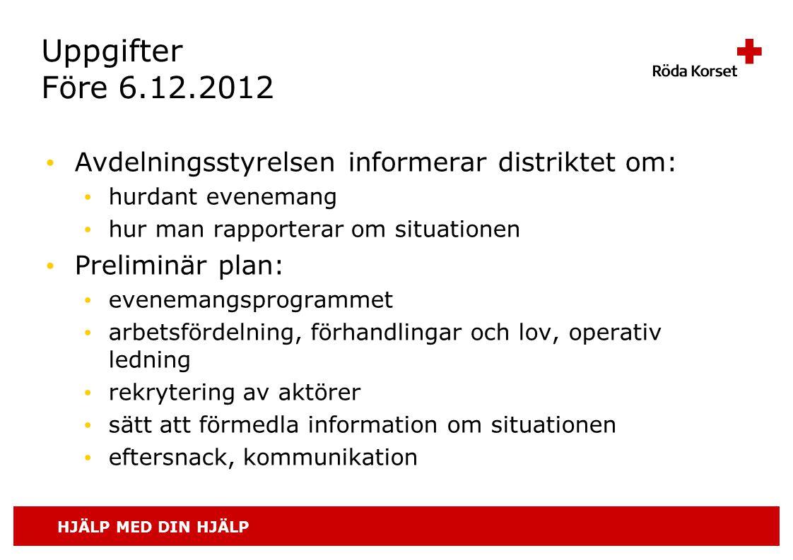 HJÄLP MED DIN HJÄLP Uppgifter Före 6.12.2012 • Avdelningsstyrelsen informerar distriktet om: • hurdant evenemang • hur man rapporterar om situationen
